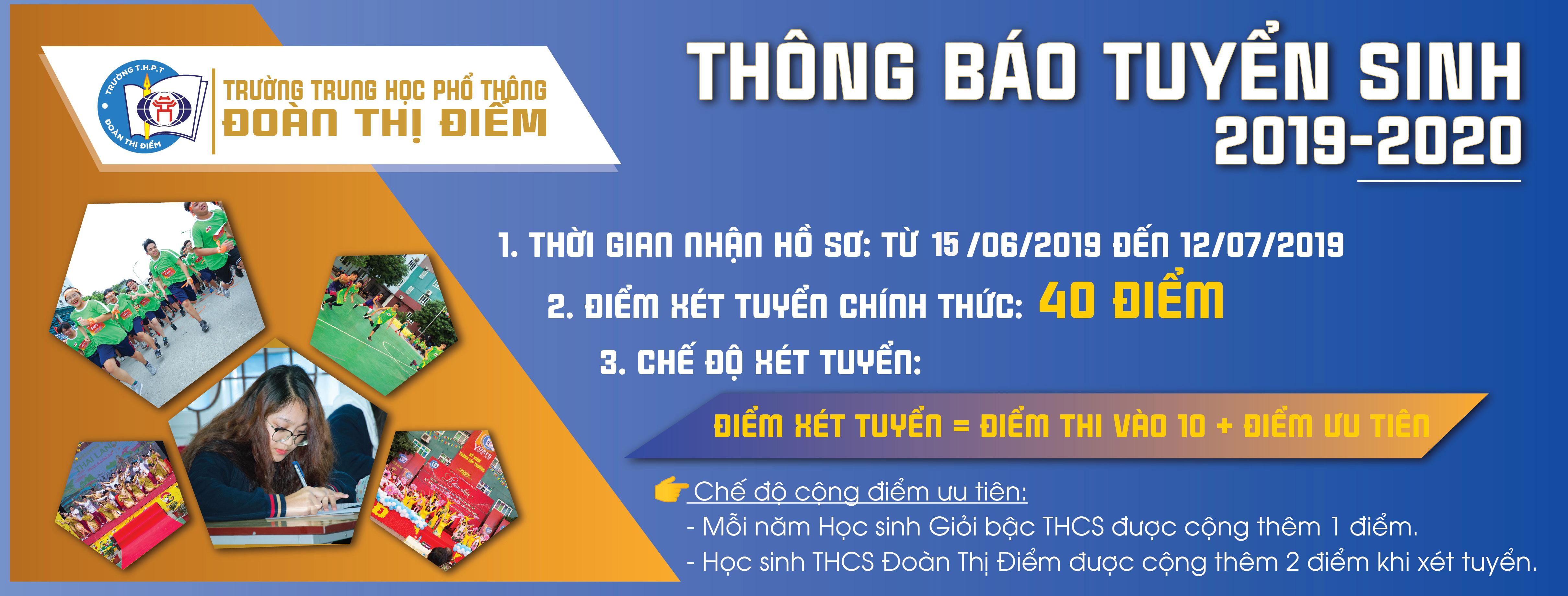 THÔNG BÁO TUYỂN SINH LỚP 10 NĂM HỌC 2019 - 2020