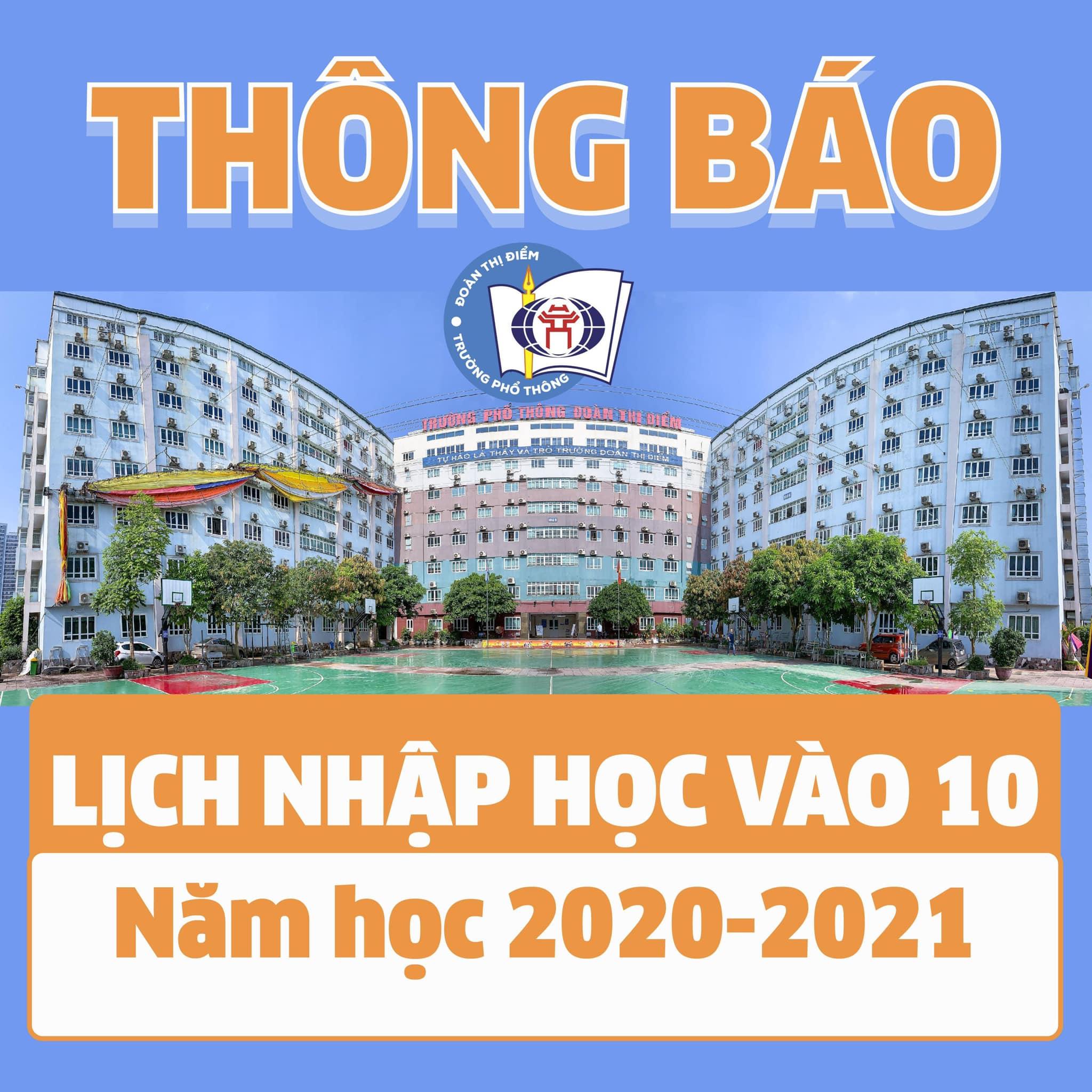 THÔNG BÁO LỊCH NHẬP HỌC VÀO 10 NĂM HỌC 2020-2021 TẠI TRƯỜNG THPT ĐOÀN THỊ ĐIỂM