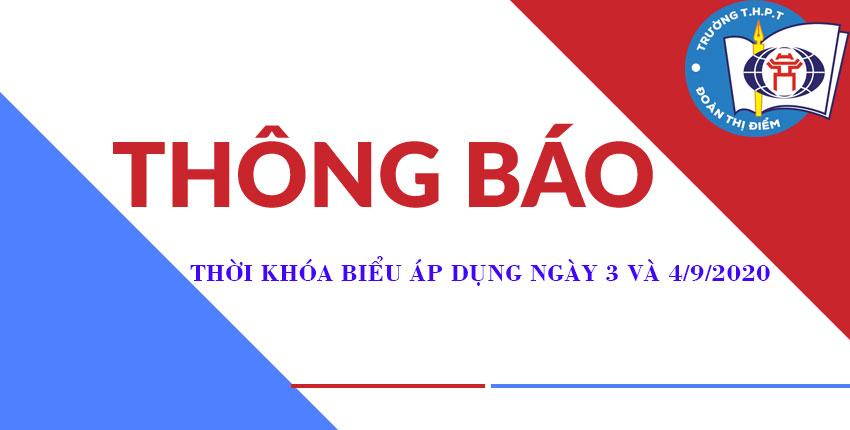 THÔNG BÁO THỜI KHÓA BIỂU ÁP DỤNG NGÀY 3 VÀ 4/9/2020