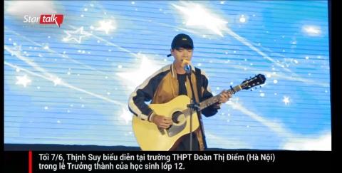 Thịnh Suy bối rối hát Một đêm say giữa hàng trăm học sinh Hà thành